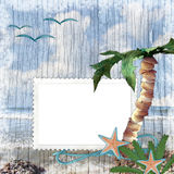 Summer  beach background with frame Royalty Free Stock Images