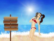 Girl in red bikini on beach Royalty Free Stock Photo