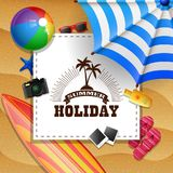 Summer beach background with holiday sign concept stock illustration