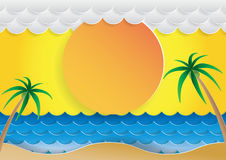 Summer beach background. Ocean wave and cloud paper cut style.With summer concept design background.Vector illustration Stock Photography