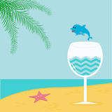 Summer beach background with palm, star, cocktail and dolphin. Stock Image