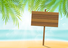 Summer beach background with signboard Stock Photo