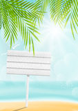 Summer beach background with signboard Royalty Free Stock Images