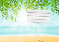 Summer beach background with signboard Royalty Free Stock Image