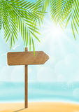 Summer beach background with signboard Stock Photos