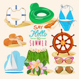 Summer beach background with travel objects Royalty Free Stock Photography