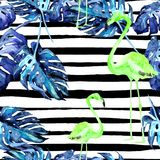 Summer Beach Background. Watercolor Seamless Pattern. Hand Painted Tropic Summer Motif with Hawaiian trees. Summer Beach Background. Watercolor Seamless Pattern Royalty Free Stock Photo
