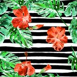 Summer Beach Background. Watercolor Seamless Pattern. Hand Painted Tropic Summer Motif with Monstera and Hibiscus. MonsteraPattern. Summer Beach Background royalty free illustration