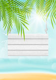 Summer beach background with wooden signboard Stock Photography