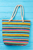 Summer beach bag with stripes. Royalty Free Stock Photos