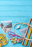 Summer beach bag, vintage background. Royalty Free Stock Photo