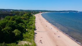 Summer on the beach of Baltic Sea in Sopot stock video footage