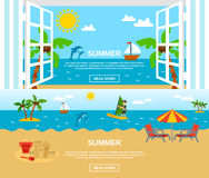 Summer And Beach Banners Set Royalty Free Stock Photos