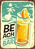 Summer beach bar retro sign design Stock Photos