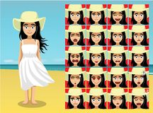 Summer Beach Big Hat Woman Cartoon Emotion faces Vector Illustration Royalty Free Stock Photography