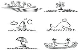 Summer beach. Black and white summer beach design elements Stock Images