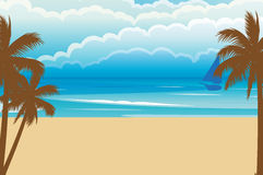Summer Beach With Boat. Vector illustration of a summer beach with a boat and coconut palm trees Stock Photos