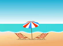 Summer beach. With bright sky illustration stock illustration