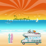 Summer beach camping island landscape with caravan camper Stock Images