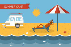Summer Beach Camping Postcard With Lounging Guy Stock Images