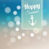 Summer beach card, blurred background. Summer card with blurred beach background and bokeh lights, illustration stock illustration