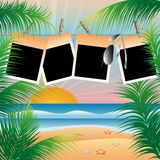Summer beach card with photo frame,  Royalty Free Stock Photo