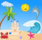 Summer beach cartoon Royalty Free Stock Photography