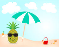 Summer on the beach. Cartoon vector of happy face pineapple and wear sunglasses and hold umbrella and orange juice on the beach in holiday summer Royalty Free Stock Image