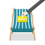 Summer beach chair on  background and businessman hand holding paper. Royalty Free Stock Photos