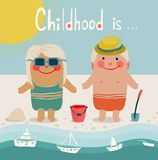 Summer Beach Children Friends Sunbathing Stock Images