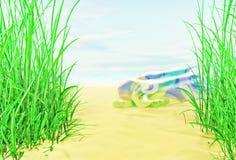 Summer beach. The children's rubber circle lies on sand. Stock Photo