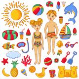 Summer beach children toys characters symbols doodle icons vector set. Summer beach children toys characters symbols doodle colorful cute icons vector set Royalty Free Stock Image