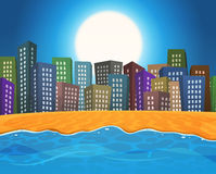 Summer Beach By The City Stock Photography