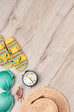 Summer beach clothing stuff, top view. Stock Photography