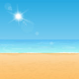 Summer beach coast. Peaceful beach coast. Calm ocean and yellow sand under bright sunlight Stock Images