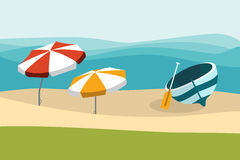 Summer beach with color umbrellas. Flat design. Royalty Free Stock Photo