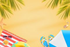 Summer beach composition with copy space in the middle Royalty Free Stock Photography