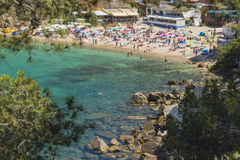 Summer beach in Costa Brava, Mediterranean holidays in Catalonia, Spain. Royalty Free Stock Photos