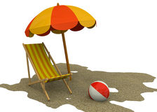 Summer on the Beach - 3D. Beach chair, umbrella and ball on the sand Stock Images