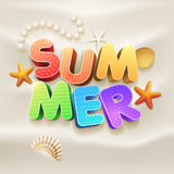 Summer on the beach. 3d summer text on the sand design template. Elements are layered separately in vector file royalty free illustration