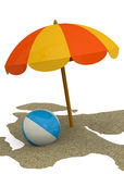 Summer on the Beach - 3D. Umbrella and ball on the sand Stock Images