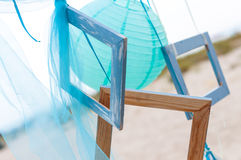 Summer beach decoration: photo frame with organza Stock Photography