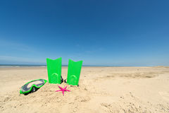 Summer beach. With diving equipment for children Royalty Free Stock Image