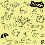 Summer beach doodle art royalty free illustration