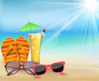 Summer in beach with drink,glasses and slipper  Royalty Free Stock Photo