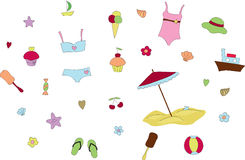 Summer and beach elements Royalty Free Stock Images