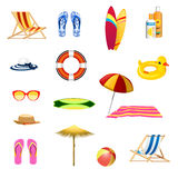 Summer beach elements set. Summer beach  objects set Royalty Free Stock Images
