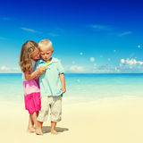 Summer Beach Family Fun Enjoyment Children Concept Stock Photos