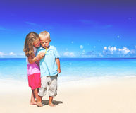 Summer Beach Family Fun Enjoyment Children Concept Royalty Free Stock Photo