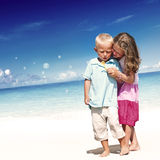 Summer Beach Family Fun Enjoyment Children Concept Stock Image